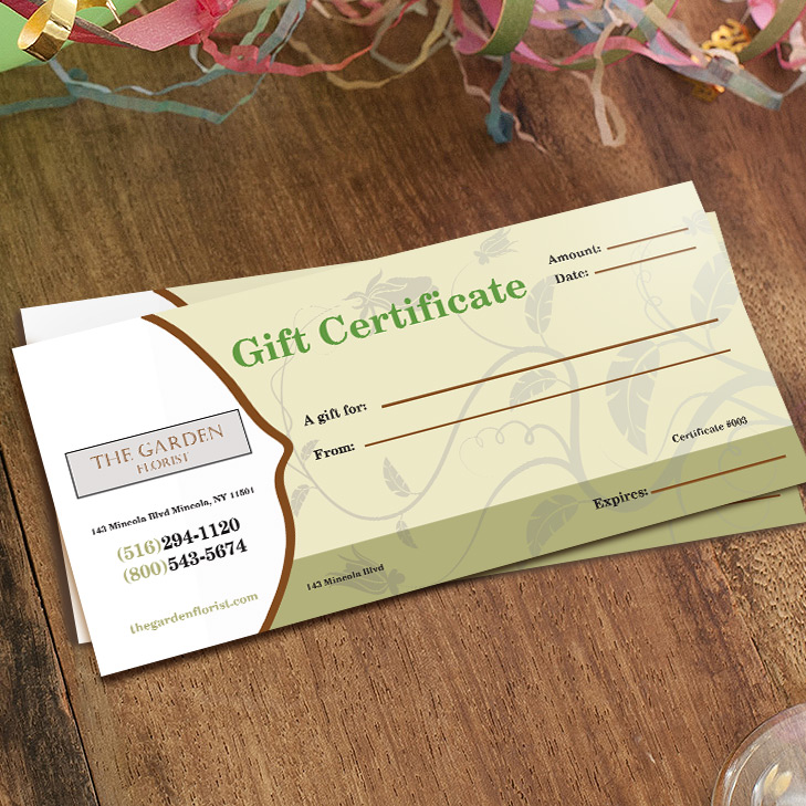 3x7 gift certificate printing